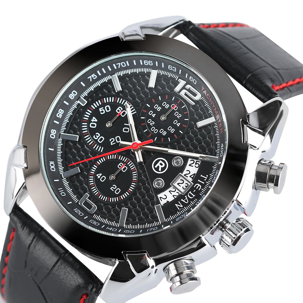 TIEDAN Male Luxury Sport Quartz Stop Wrist Watch Black Genuine Leather Band  Fashion Military Date Chronograph Mens pattous mens sports watch black genuine leather chronograph dial date sport quartz watches miyota quartz wrist watch gift box