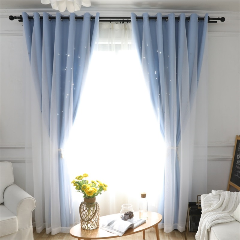 Modern Hollow Stars Blackout Curtains Fantasy Princess Style Cloth+Tulle Double Curtains For Living Room Bedroom Cortina T128#4