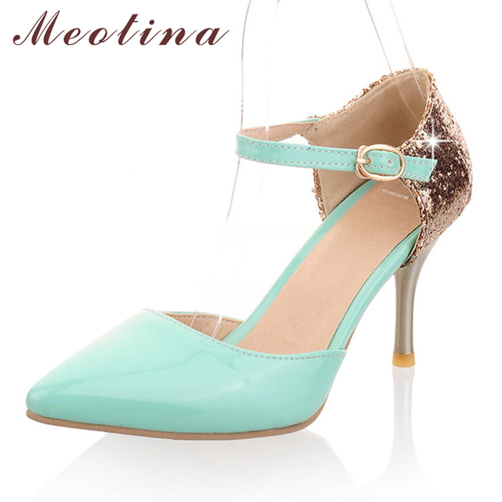 Meotina Women Shoes Pumps Autumn Pointed Toe High Heels Party Wedding Shoes Stiletto Two Piece Glitter White Big Size 11 44 45 meotina high heels shoes women pumps party shoes fashion thick high heels pointed toe flock ladies shoes gray plus size 10 40 43