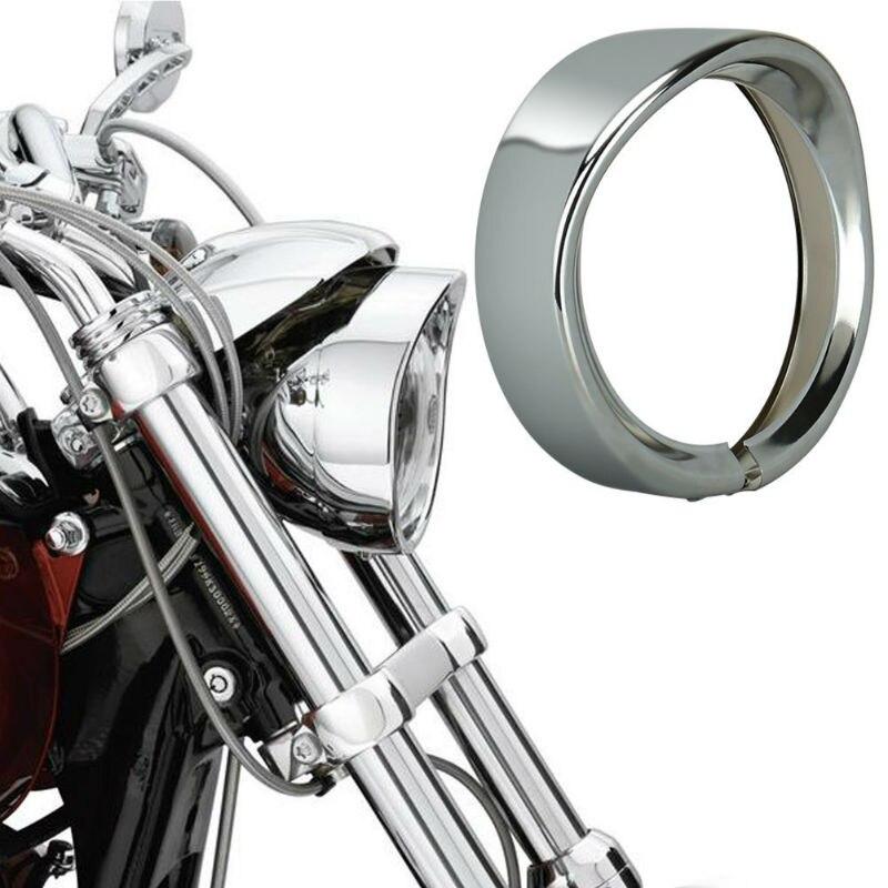 5.75'' Metal Black/Chrome Headlamp Visor Style, 5.75inch LED Headlight Trim Ring 69735-05 For Sportster Dyna FXLR, FXST