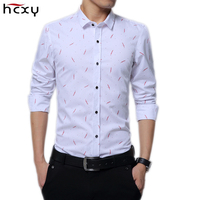 HCXY 2017 New Arrival Spring Collection Floral Shirt Men Printed Long Sleeve Classic Dress Shirts Slim Fit Fashion Mens Shirt