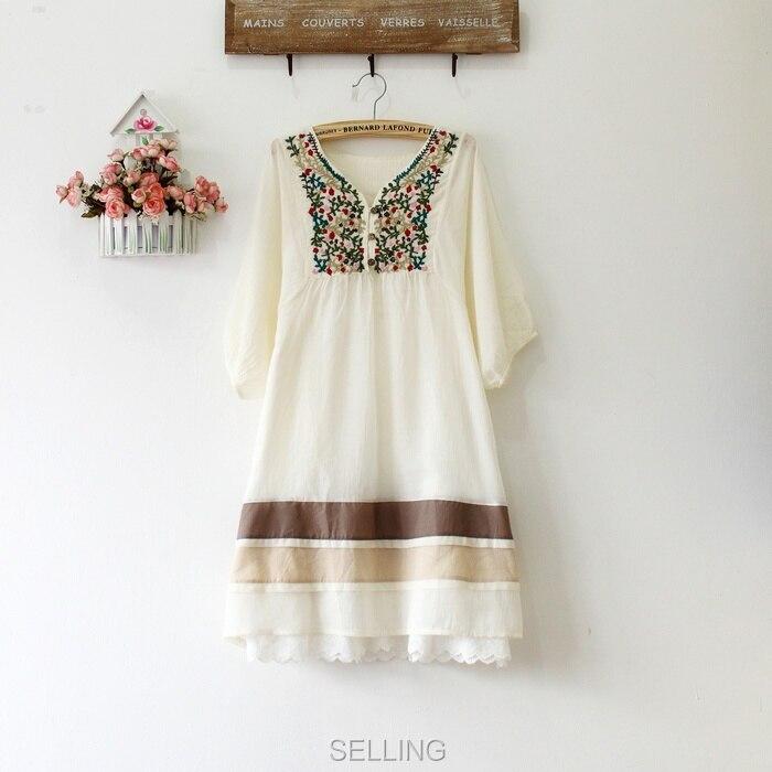 Винтаж 70s деревенском стиле вышитые Мексиканская Платье в богемном стиле с длинным Vestidos Женская хлопковая блуза 11 видов цветов L размера плюс футболки; - Цвет: Слоновая кость