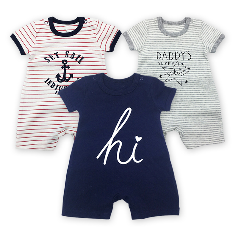 Baby Clothing Newborn jumpsuits Baby Boy Girl   Romper   Clothes 3 Pieces/lot Short Sleeve Infant Product
