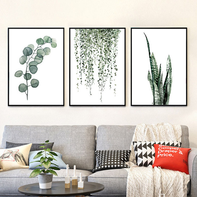 haochu nordic decorative painting green plant leaves posters bedroom murals modern and simple style fields and