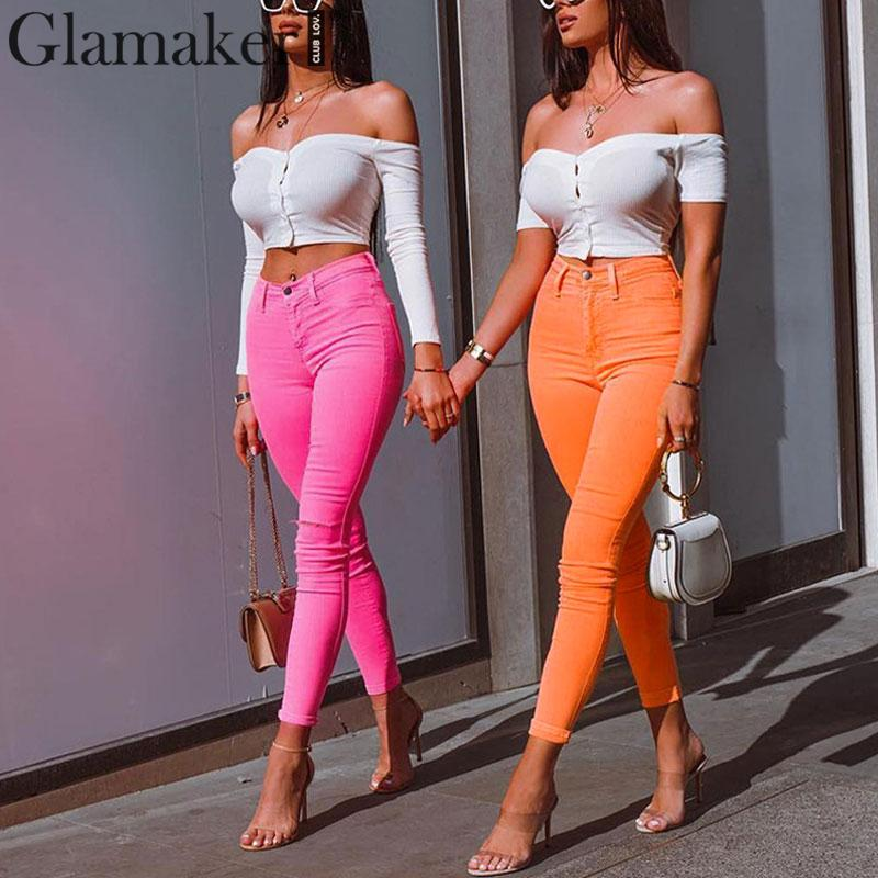 Glamaker Orange skinny   pants   &   capris   streetwear Summer sexy   pant   classic women trousers female High waist trousers red   pants