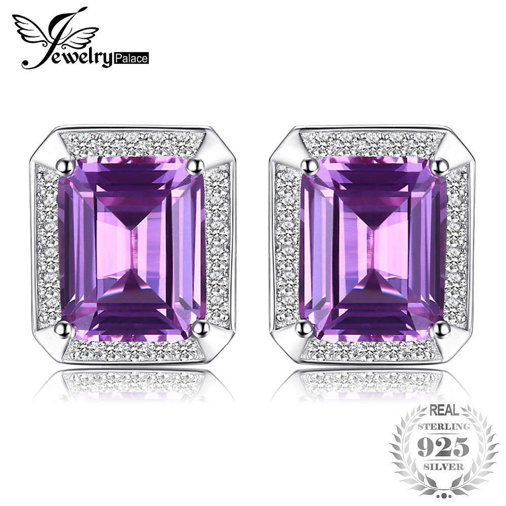 JewelryPalace Solid 925 Sterling Silver 8.6ct Alexandrite Cuff Links Fine Best Gift For Engagement Birthday Man Cuff Links off shoulder tie cuff solid sweatshirt