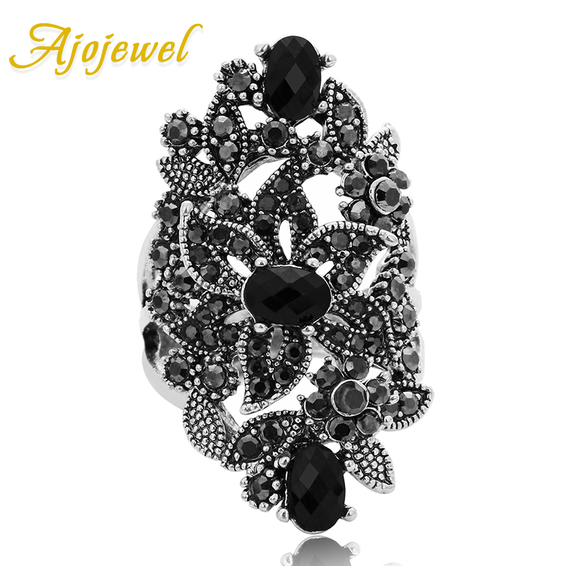 Ajojewel Black Crystal Rhinestone Blomster Smykker Vintage Retro Ring Woman Big Rings Ringen