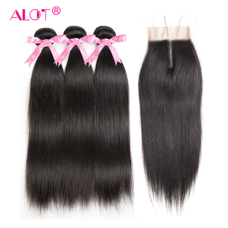 Alot Hair Brazilian Straight Human Hair Bundles With Lace Closure Natural Color 3 Bundles Hair Weaves