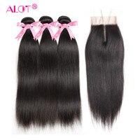 Alot Hair Brazilian Straight Human Hair Bundles With Lace Closure Middle Part Natural Black 3 Bundles