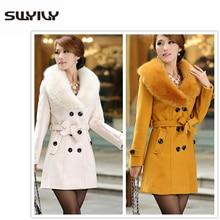 SWYIVY Winter Women Woolen Coats Big Fur Collar Long Design 2018 New Female Warm Slim Casual Jacket Large Size Woman Coat 5XL