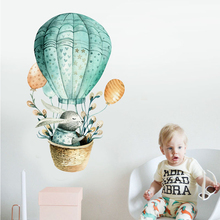 Мультфильм стены стикеры Детская комната украшения кролик горячий воздух украшение для дома-воздушные шары nordic стиль Акварель Живопись Детская diy книги по искусству
