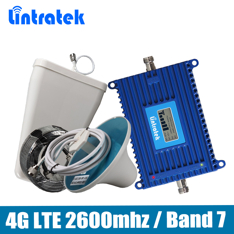 Gain 70dB Signal de Téléphone Répéteur 4G LTE 2600 mhz (LTE Bande 7) Mobile Signal Booster ensemble complet avec LPDA/Plafond Antenne 15 M Câble