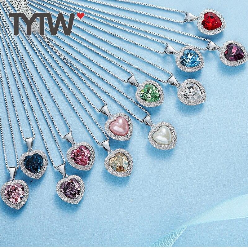 TYTW Cristaux De Swarovski En Laiton Femmes Pendentif Coeur Collier Bijoux Cadeaux 12 Collier Pierre De Naissance