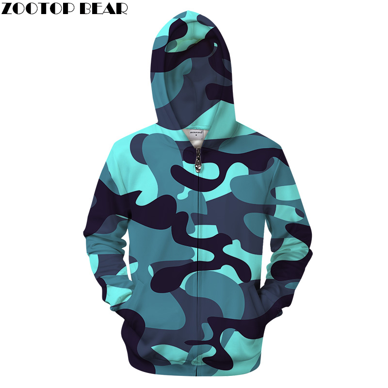 Shine Blue Camo 3DPrint Hoodies Men Women 2018 Sweatshirt Casual Tracksuit Zipper Hoodie Pullover Streatwear Dropship ZOOTOPBEAR