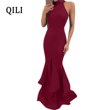 QILI Wine-red Black Blue Mermaid Dress Women Sleeveless Front Split Ruffles Elegant Long Maxi Dresses Evening Party Club