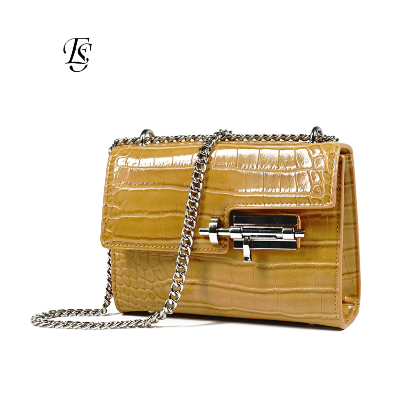 E SHUNFA new arrival fashion lock crocodile chain shoulder bag woman handbag women bag yellow black