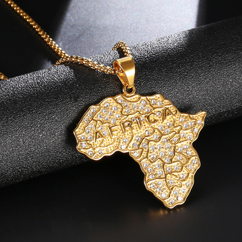 Collier Pendentif Hip Hop Bling Africa