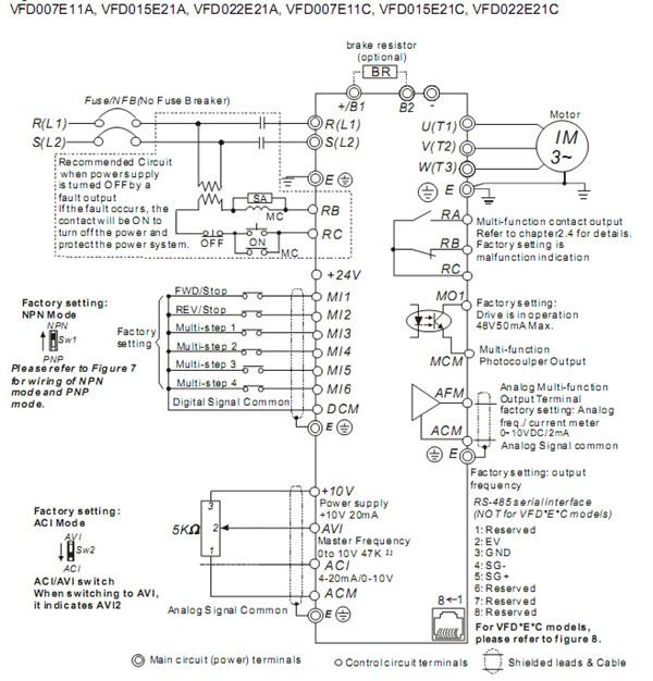 VFD015E21A Wiring Diagram