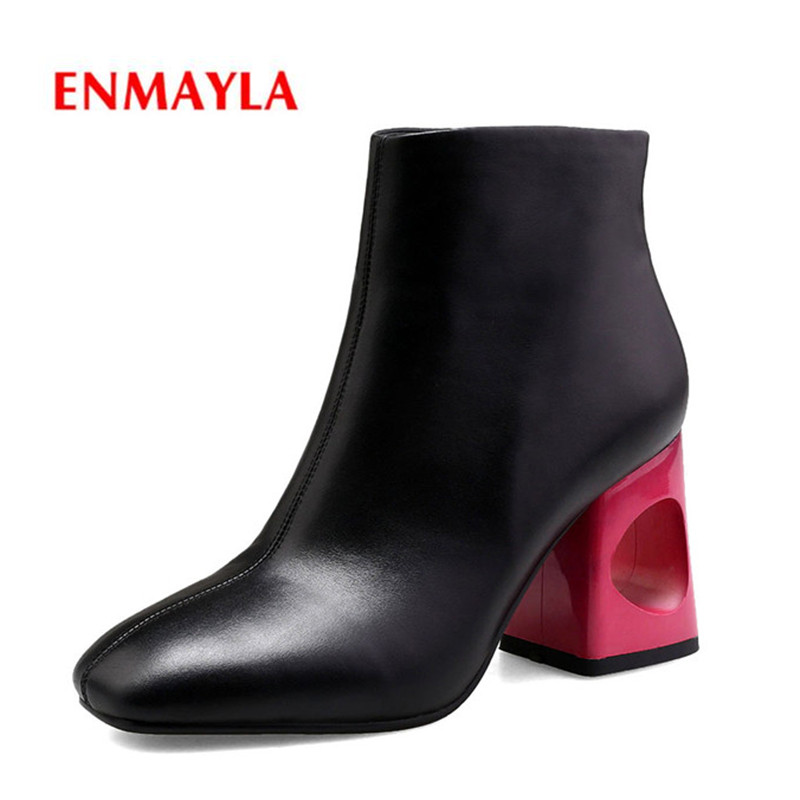 ENMAYLA Brand Women Basic Boots High Heeled Autumn Winter Warm Short Martin Shoes Woman Side Zipper Motorcycle CR905
