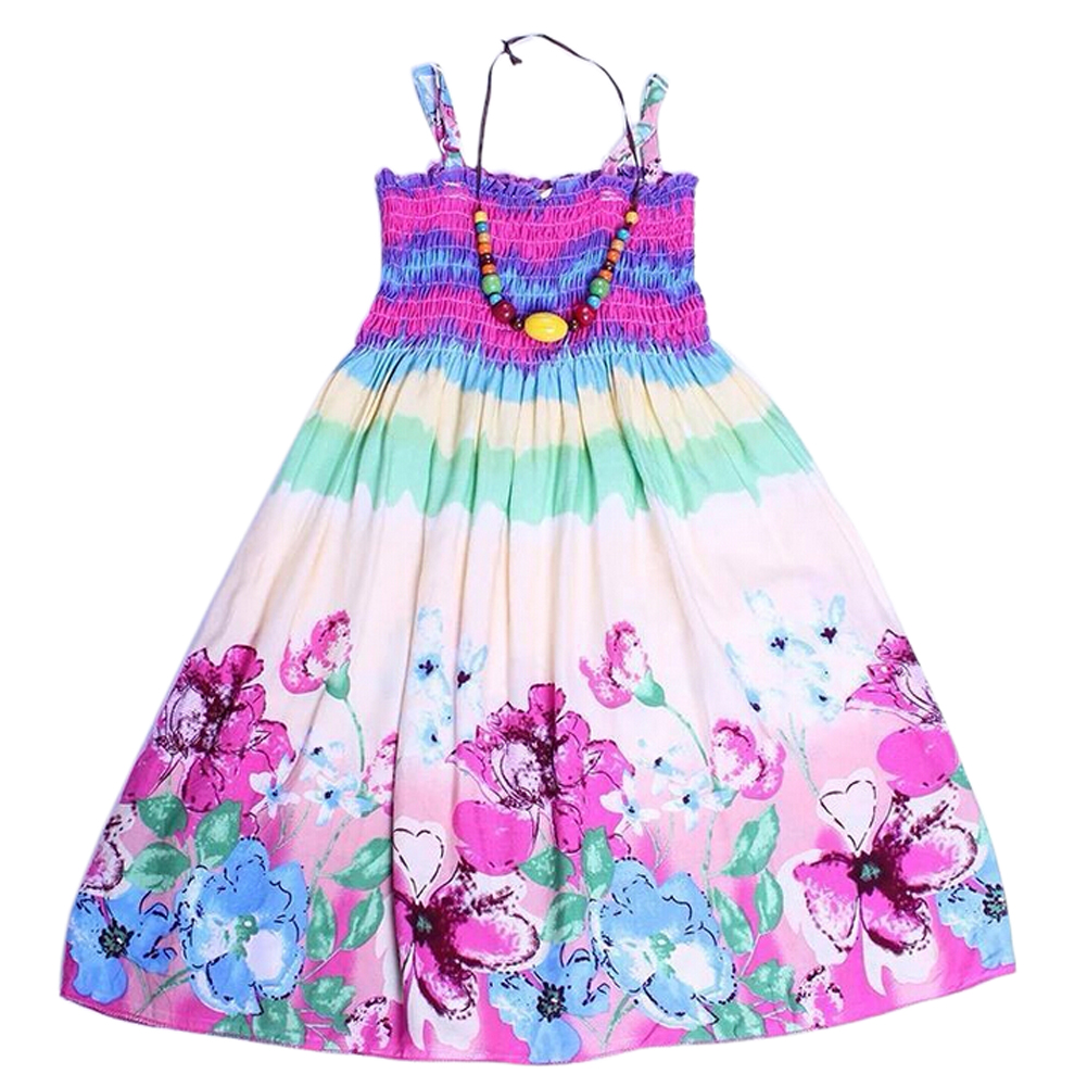 New summer style girls dresses Fashion Knee-length beach dresses for girls sleeveless bohemian children sundress girls Pink 3T