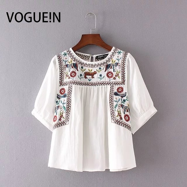 832b8e9294f0 N New Womens Ladies White Half Sleeve Floral Animal Embroidered Pullover  Blouse White Tops Shirt