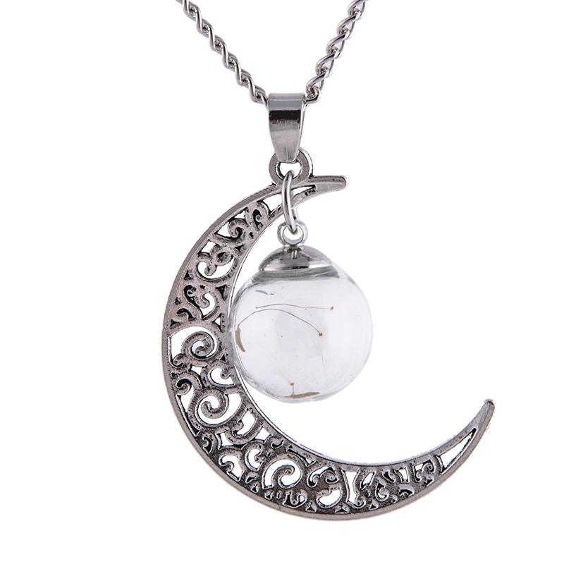 Silver Moon Ball Vial Necklace