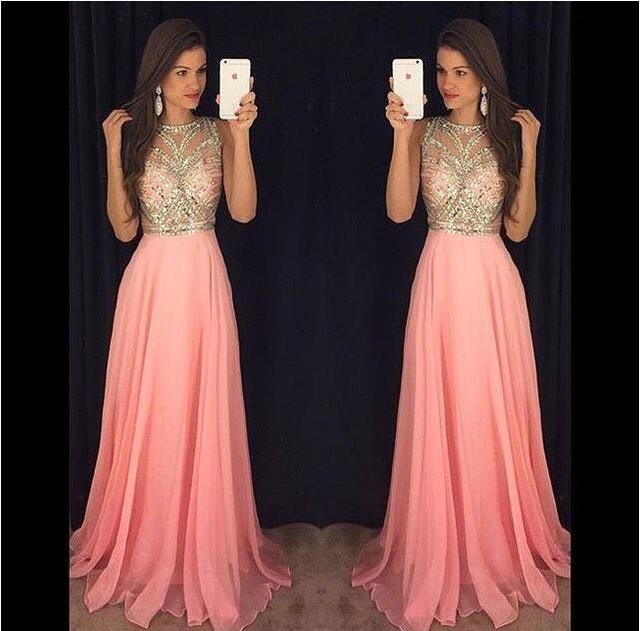 fc73580e94 2016 Blush Pink Rebordear Sheer Cristales Shinny Blusa Formal Vestidos de  Noche Con Cuello Redondo Sin