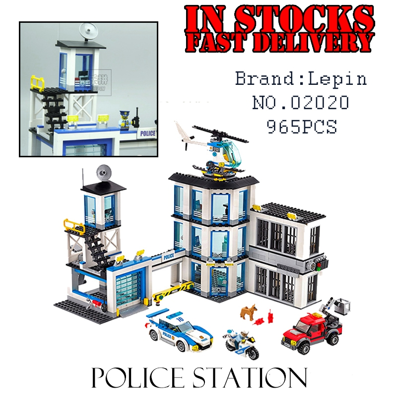 Lepin 02020 965Pcs City Series The New Police Station Set children Educational Building Blocks Bricks Boy Toys ModelGifts 60141 lepin 02006 815pcs city police series the prison island set building blocks bricks educational toys for children gift legoings