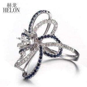 Image 3 - HELON 6.5mm okrągły Cut stałe 10 K białe złoto 0.6ct naturalny szafir i diamenty Semi Mount pierścionek zaręczynowy ślub biżuteria z kamieni szlachetnych