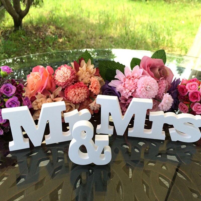Mr & Mrs деревянный Пластик ПВХ знак буквы свадебный стол Украшение стола
