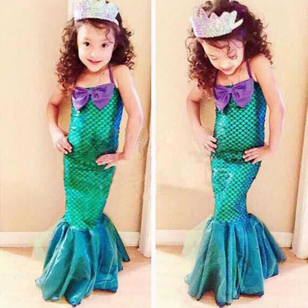 Girl Dress Ariel Little Mermaid Princess Dress with Bow for Halloween Christmas Cosplay Costume for Girls Children Clothes 3-12Y