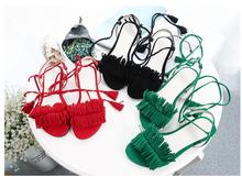 Summer sandals fashion women's shoes open toe lacing tassel bow scrub velvet low-heeled thick heel