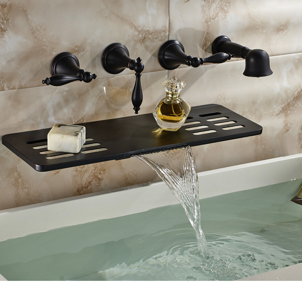 oil rubbed bronze wall mounted bathroom tub faucet waterfall spout w soap dish hand shower