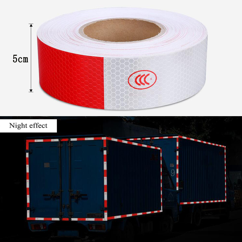 5cmx5m Car Body Reflective Sticker Waterproof Safety Warning Strip Tapes Night Driving Reflective Sticker