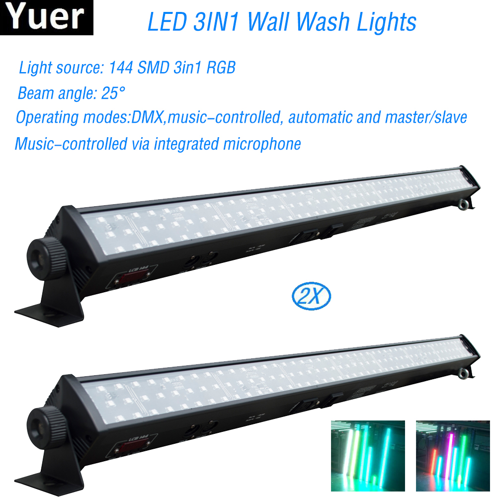 Free Shipping 2Pcs/Lot DJ equipment RGB 3IN1 Led Wall Wash Lights par led For Disco Dj party bar Indoor horse race stage lamp free shipping 2pcs lot good effect rgb 3in1 24 3w led wall washer dmx bar light for stage disco led flood light running horse
