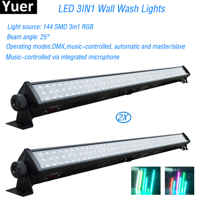 Free Shipping 2Pcs/Lot DJ equipment RGB 3IN1 Led Wall Wash Lights par led For Disco Dj party bar Indoor horse race stage lamp