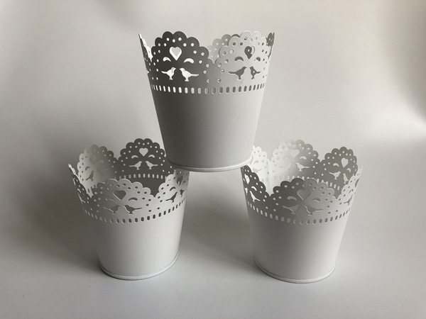 White Metal Vase Small Vase Wedding Decorative Pots Pure White Wedding Centerpieces SF 0517-in Flower Pots & Planters from Home & Garden