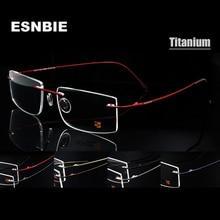 إطارات نظارات رجالي من ESNBIE بدون إطار من التيتانيوم بذاكرة 7 ألوان مربعة الشكل وصفة طبية