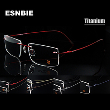 Computer Rimless Titanium Glasses Frame men Memory Eyeglass Frames 7 Colors Meet 1.56 1.61 Prescription Eyewear