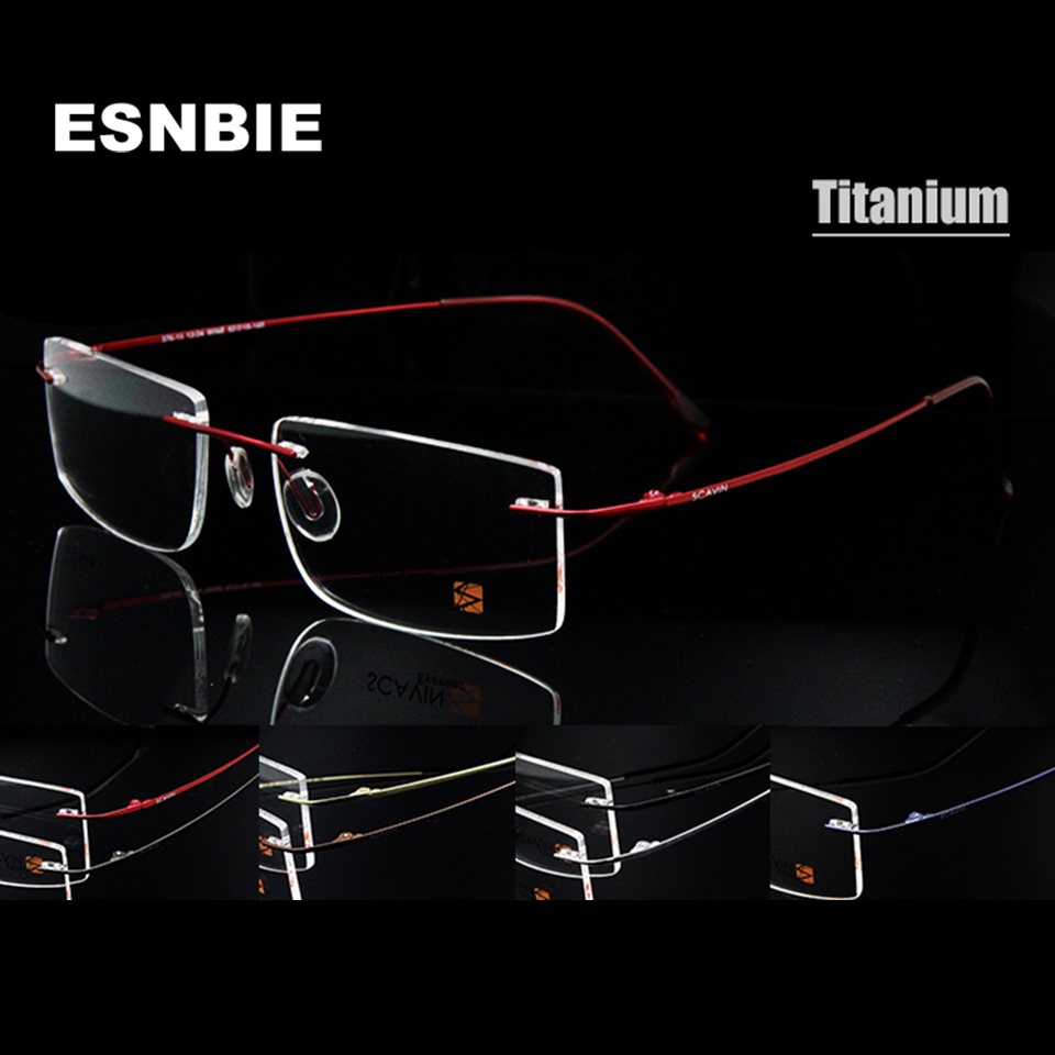 ESNBIE Computer Rimless Titanium Glasses Ramme menn Memory Eyeglass Frames 7 Farger Square Shape Prescription Eyewear