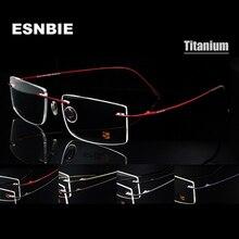 Esnbie 컴퓨터 무테 티타늄 안경 프레임 남자 메모리 안경 프레임 7 색 사각형 모양 처방 안경