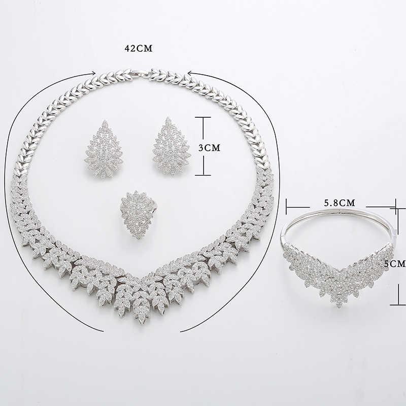 Hadiyana 2018 благородный Micro Pave Цирконий ювелирные комплекты dubai новейшие Роскошные свадебные ювелирные изделия из жемчуга 4 предмета в комплекте, для Для женщин TZ8025