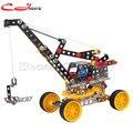DIY brinquedos educativos das crianças Quentes 816B-128 divertido de Metal modelo de montagem de blocos de construção montado guindaste Melhorar A capacidade