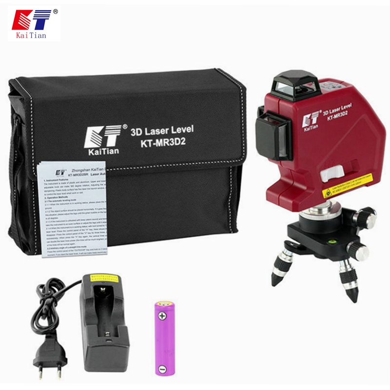 цена на Kaitian 12 Lines 3D Laser Levels Self Leveling 635nm 360 Horizontal And Vertical Cross Super Powerful Red Lasers Beam Line Tools