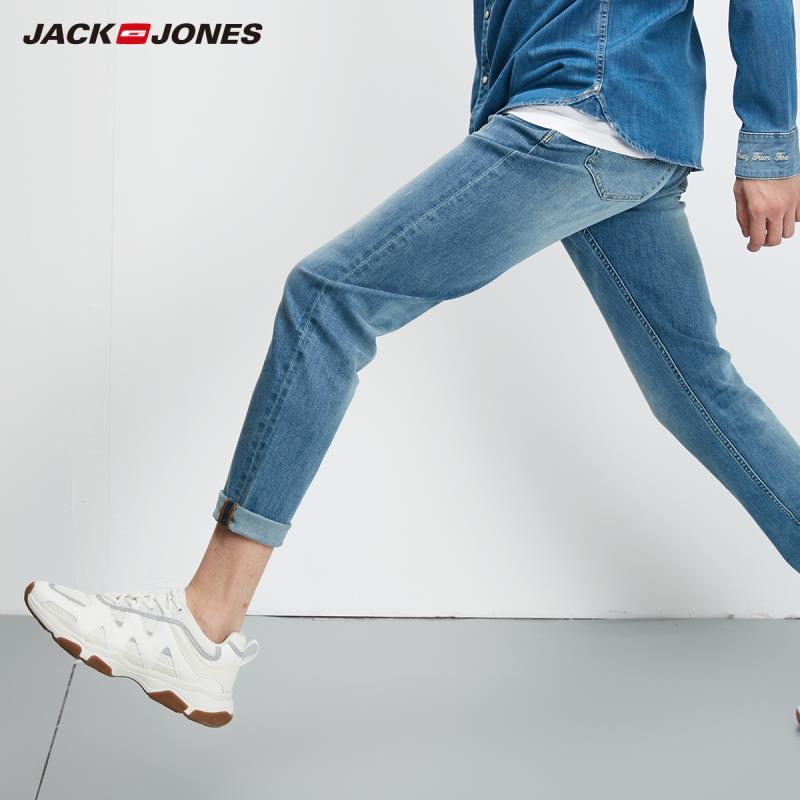 JackJones Men's 2019 Stretch Light Color Slim Fit Tight-leg Letter Print Jeans-219232505