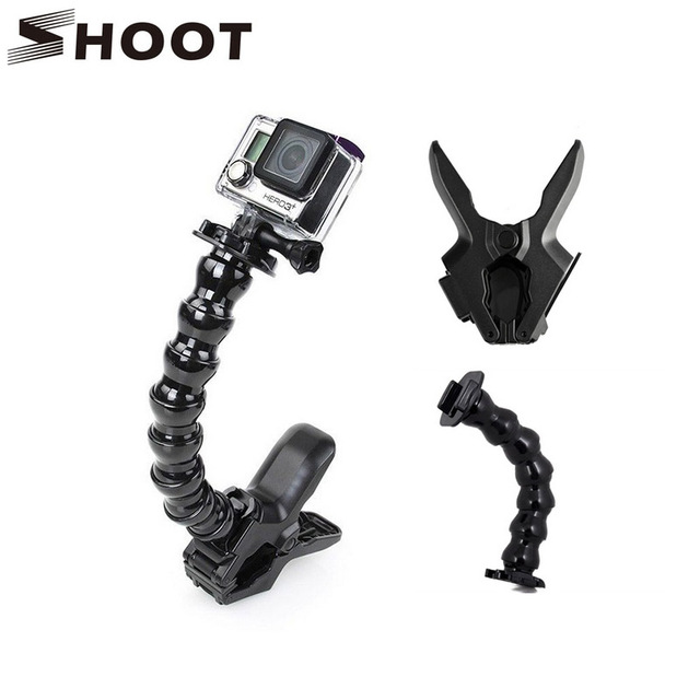 SHOOT Original 24cm Gopro Gooseneck Adjustment Jaws Flexible Clamp Mount for Go Pro Hero 5 4 Session 3 SJCAM Xiaoyi Camera