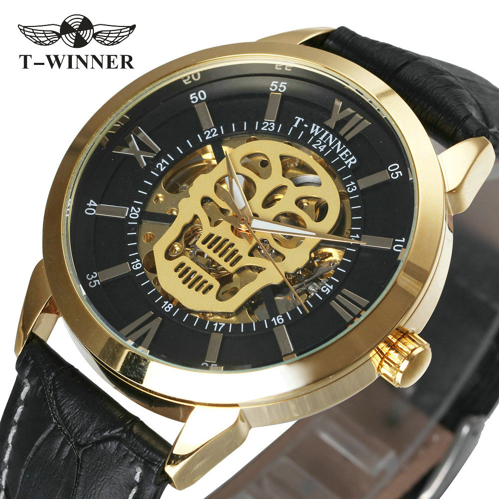 WINNER Latest Cool Black Men Skeleton Auto Mechanical Watch Genuine Leather Strap Golden Skull Heavy Metal Steampunk Wristwatch