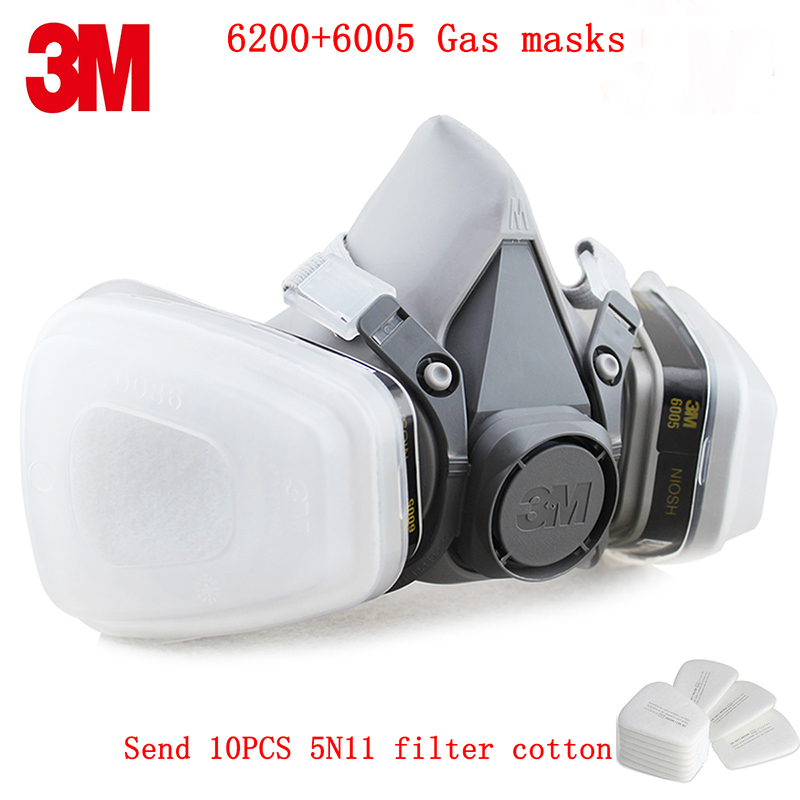 3M 6200+6005 respirator gas mask Genuine security 3M protective mask against formaldehyde Organic vapor gasmaske 3m 7501 6005 half facepiece reusable respirator mask formaldehyde organic vapor cartridge 7 items for 1 set xk001