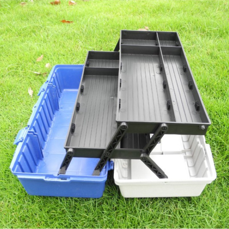 430X210X170mm ABS Tool Case Tool Box Impact Resistant Three Floors Folding Hardware Toolbox Home Multi-function Car Repair Case