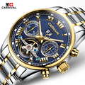 montre homme Famous CARNIVAL 2017 New Tourbillon Mechanical Watches Men Steel Strip Waterproof Automatic Watch Big Calendar